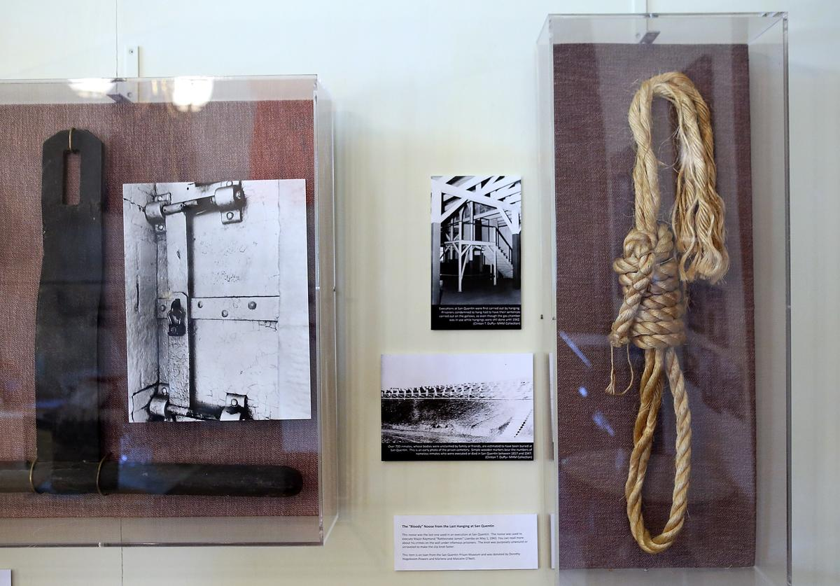 """A noose with blood stains that was used at San Quentin State Prison is displayed at """"The Q: San Quentin State Prison"""" exhibit at the Marin History Museum on September 13, 2012 in San Rafael, California"""