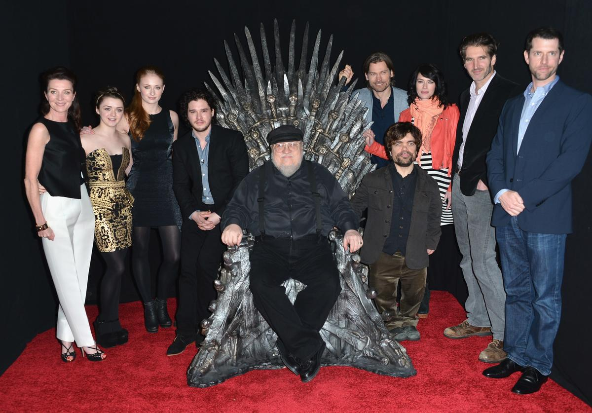 "Actors Michelle Fairley, Maisie Williams, Sophie Turner, Kit Harington, executive producer George R.R. Martin, actors Nikolaj Coster-Waldau, Peter Dinklage, Lena Headey, co-creator/executive producer David Banioff and co-creator/executive producer D.B. Weiss attend The Academy of Television Arts & Sciences' Presents An Evening With ""Game of Thrones"" at TCL Chinese Theatre on March 19, 2013 in Hollywood, California."