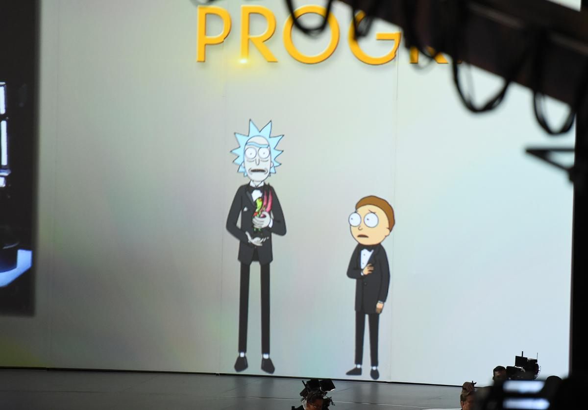 Rick and Morty present onstage during the 70th Emmy Awards at Microsoft Theater on September 17, 2018 in Los Angeles, California
