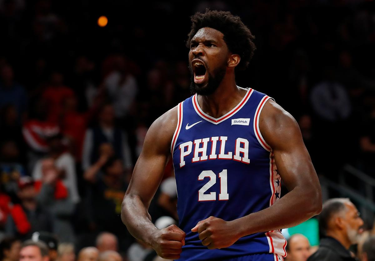 Joel Embiid #21 of the Philadelphia 76ers reacts after their 105-103 win over the Atlanta Hawks at State Farm Arena on October 28, 2019 in Atlanta, Georgia. NOTE TO USER: User expressly acknowledges and agrees that, by downloading and/or using this photograph, user is consenting to the terms and conditions of the Getty Images License Agreement.