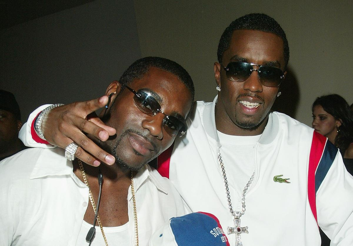 "Singer Loon, Sean P.Diddy Combs and son Justin arrive at the ""Bad Boys II"" soundtrack release party and screening at the Loew's 42nd Street on July 14, 2003 in New York City."