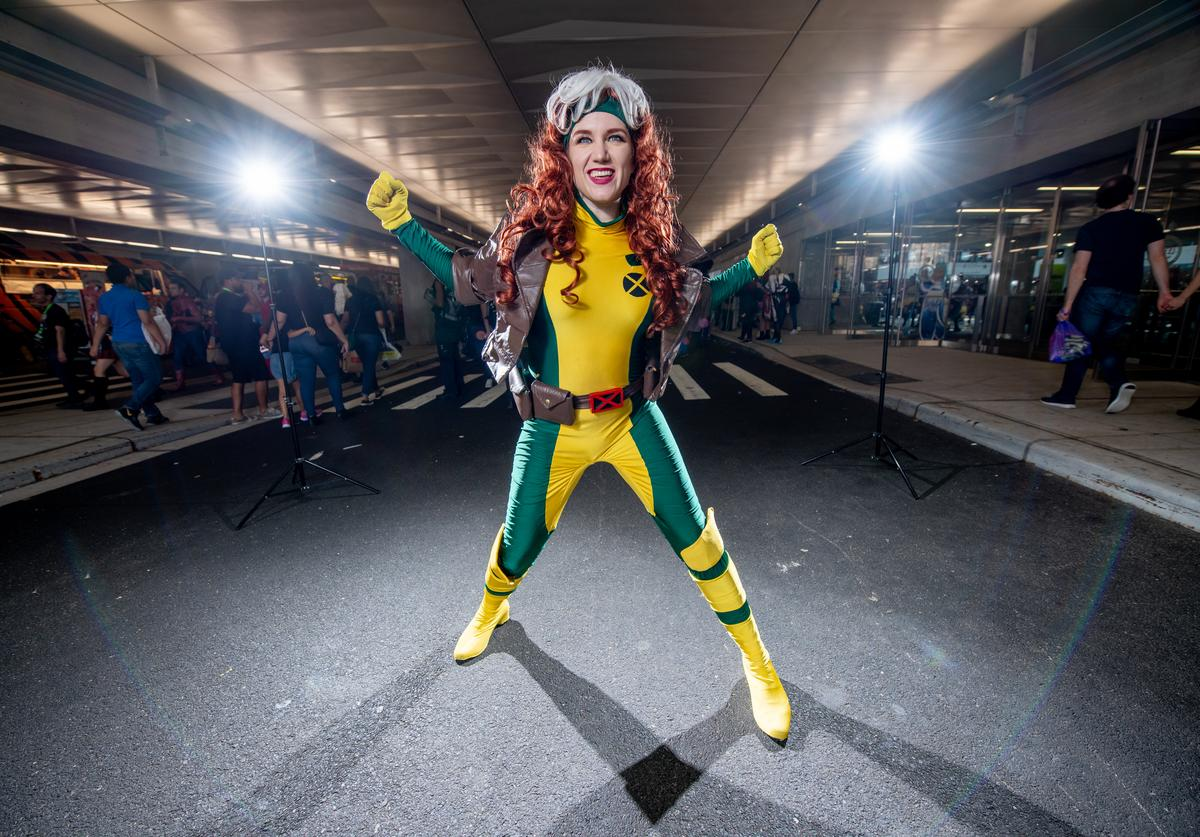 A fan cosplays as Rogue from X-Men and the Marvel Universe during the 2018 New York Comic-Con at Javits Center on October 7, 2018 in New York City.