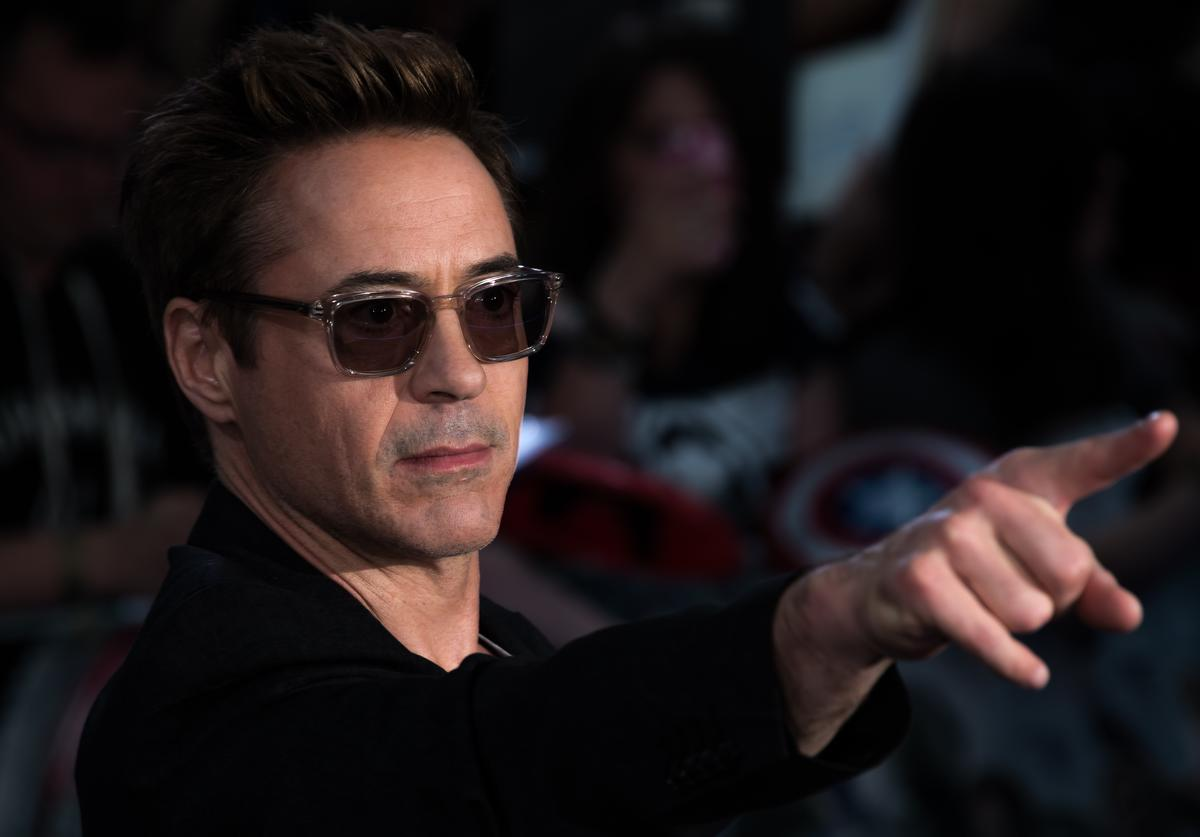 """Robert Downey Jr attends the European premiere of """"The Avengers: Age Of Ultron"""" at Westfield London on April 21, 2015 in London, England."""