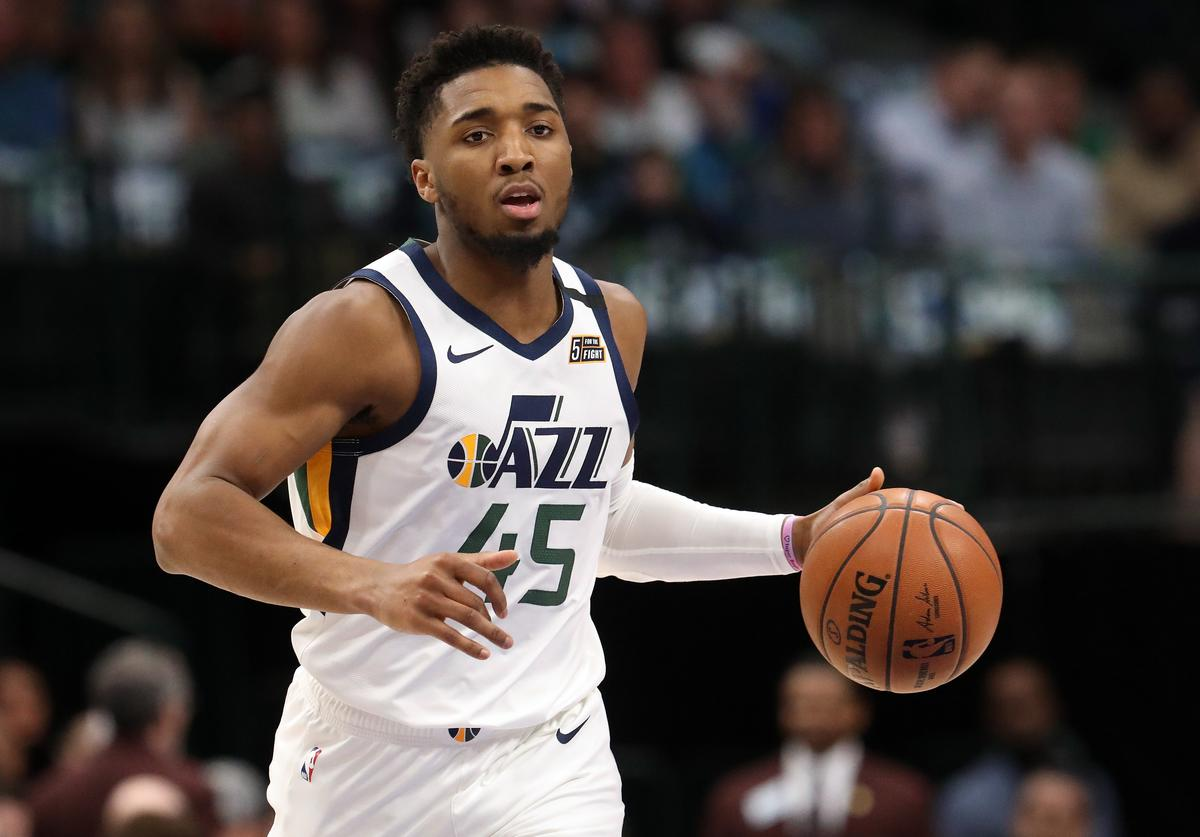 Donovan Mitchell #45 of the Utah Jazz at American Airlines Center on February 10, 2020 in Dallas, Texas. NOTE TO USER: User expressly acknowledges and agrees that, by downloading and or using this photograph, User is consenting to the terms and conditions of the Getty Images License Agreement.