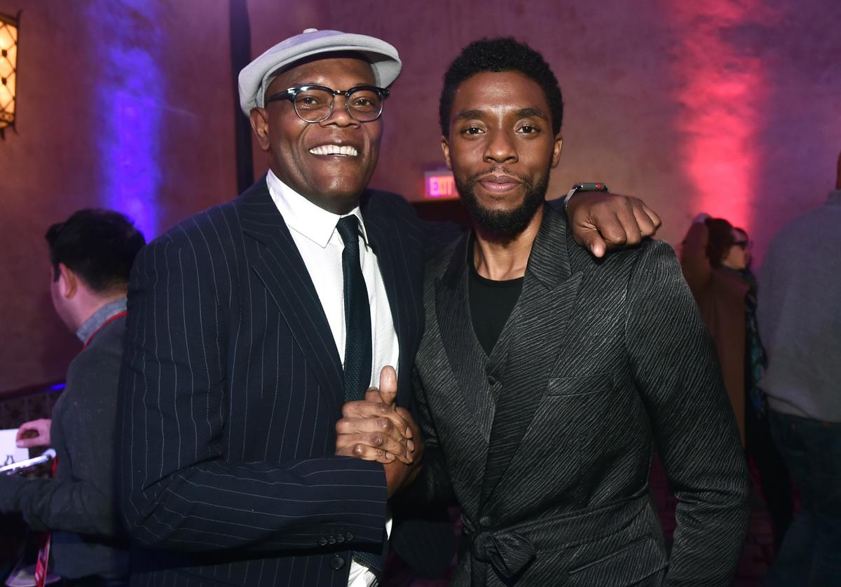 "Samuel L. Jackson and Chadwick Boseman at ""Captain Marvel"" premiere"