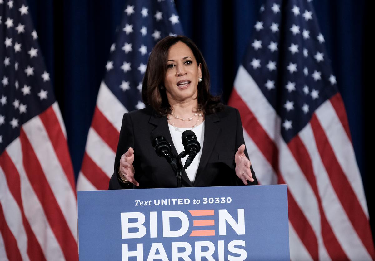 Democratic Vice Presidential nominee Sen. Kamala Harris (D-CA.), delivers remarks during a campaign event on August 27, 2020 in Washington, DC. Harris discussed President Donald Trump's failure to handle the COVID-19 pandemic and protect working families from the economic fallout prior to the last night of the Republican National Convention.