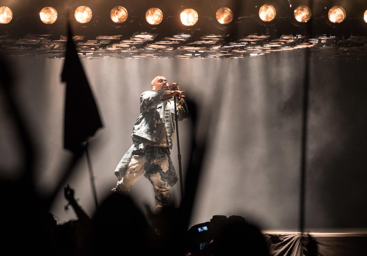 Kanye West performs at the Glastonbury Festival