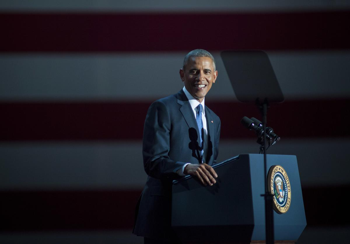 Barack Obama delivers his farewell address in Chicago