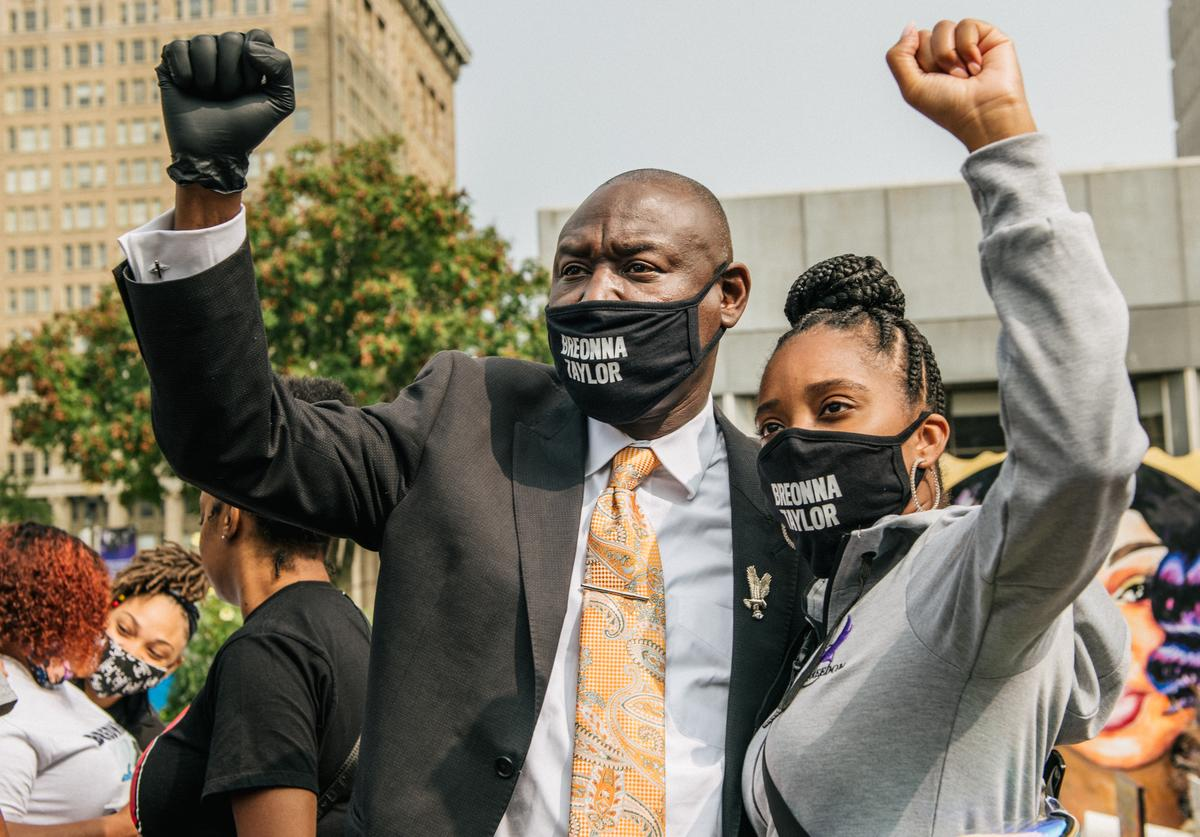 Attorney Ben Crump protesting the death of Breonna Taylor by Louisville police