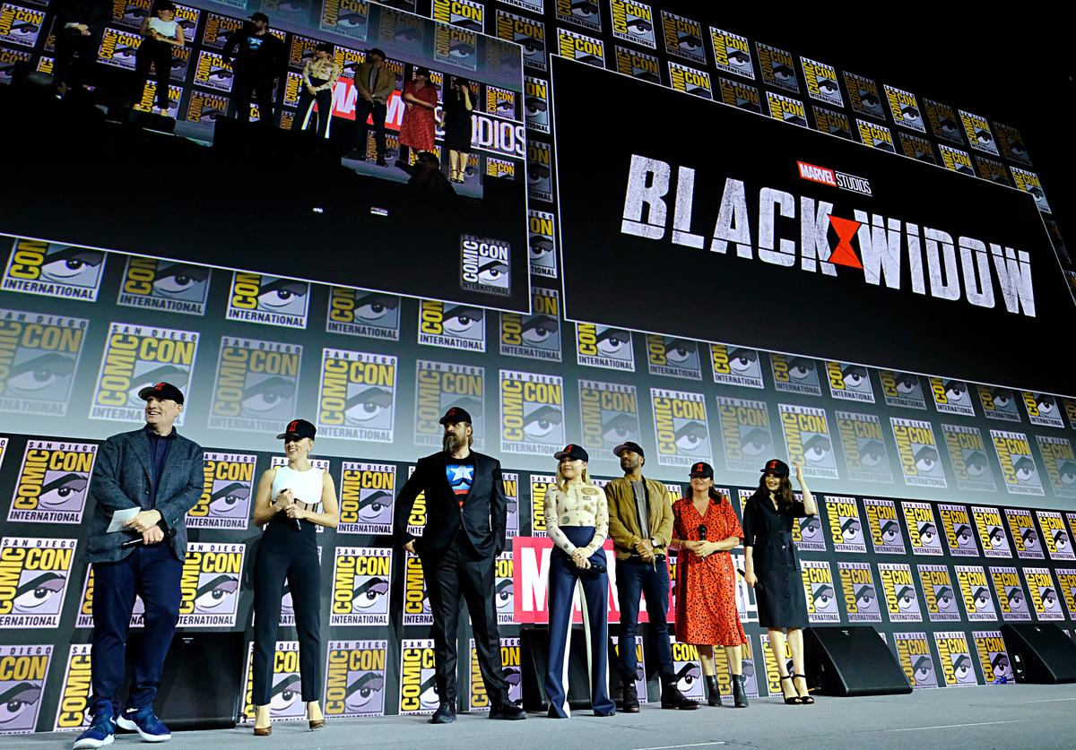 "The cast of Marvel's ""Black Widow"" at Comic-Con"