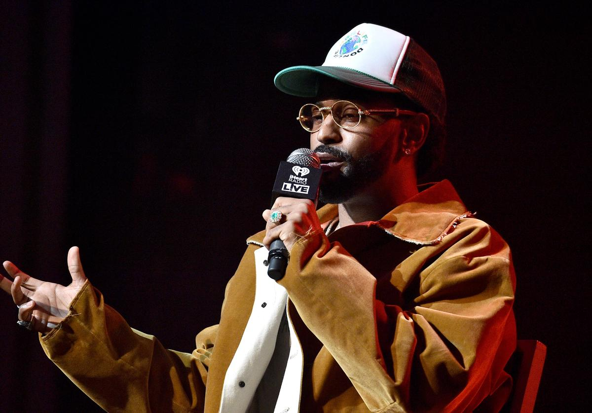 Big Sean talks onstage at The Apollo Theater in Harlem