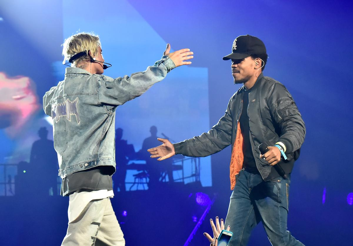 Justin Bieber and Chance the Rapper perform at the Staples Center in Los Angeles