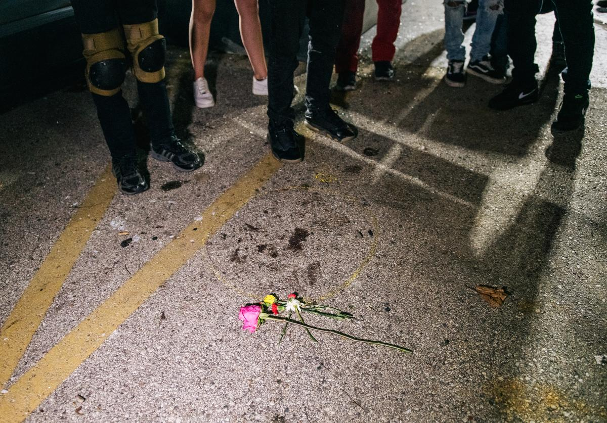 Demonstrators revisit the site where a protester was killed on August 26, 2020 in Kenosha, Wisconsin.