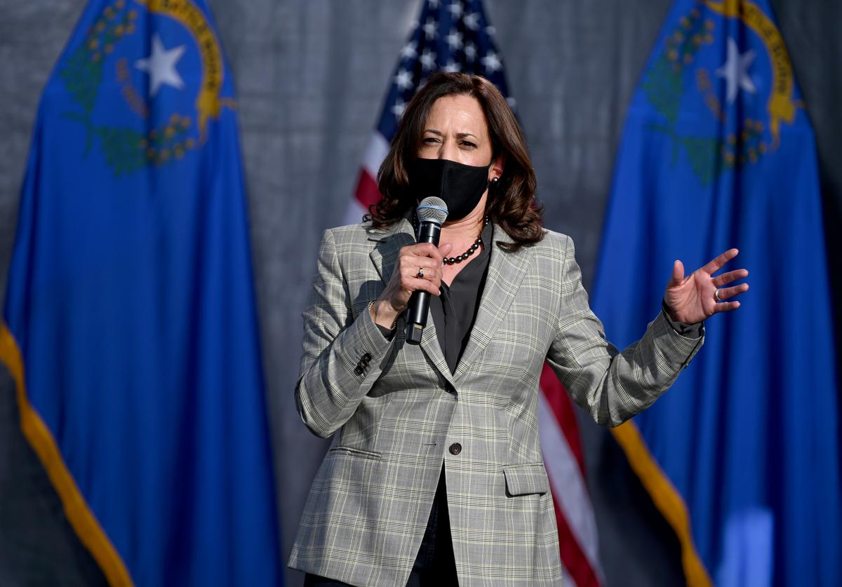 Kamala Harris speaks at a campaign rally