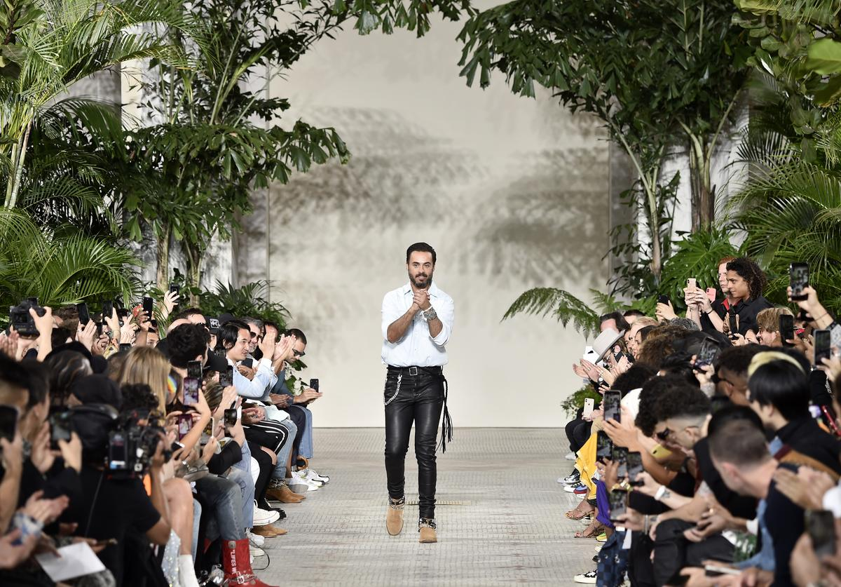 Mike Amiri presenting at Paris Fashion Week