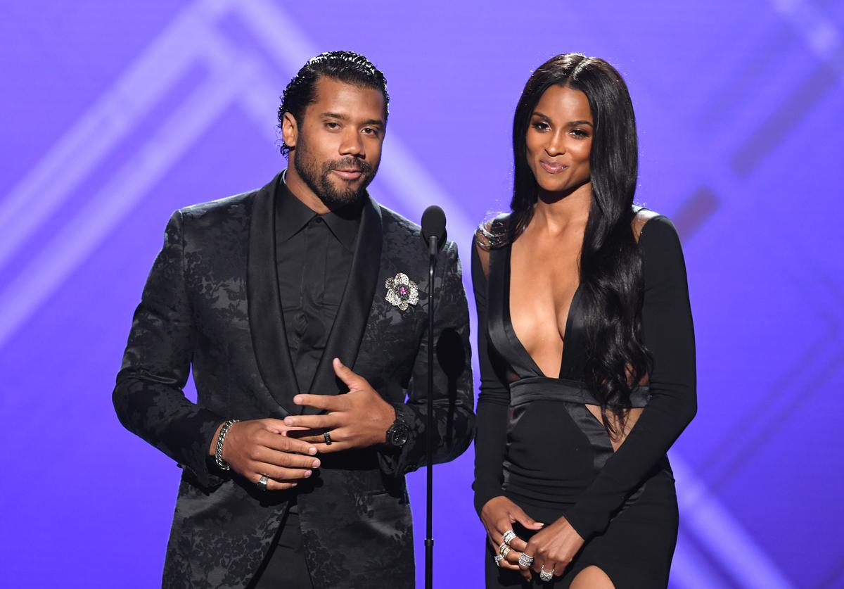 Russell Wilson and Ciara speak onstage during The 2019 ESPYs at Microsoft Theater on July 10, 2019 in Los Angeles, California.