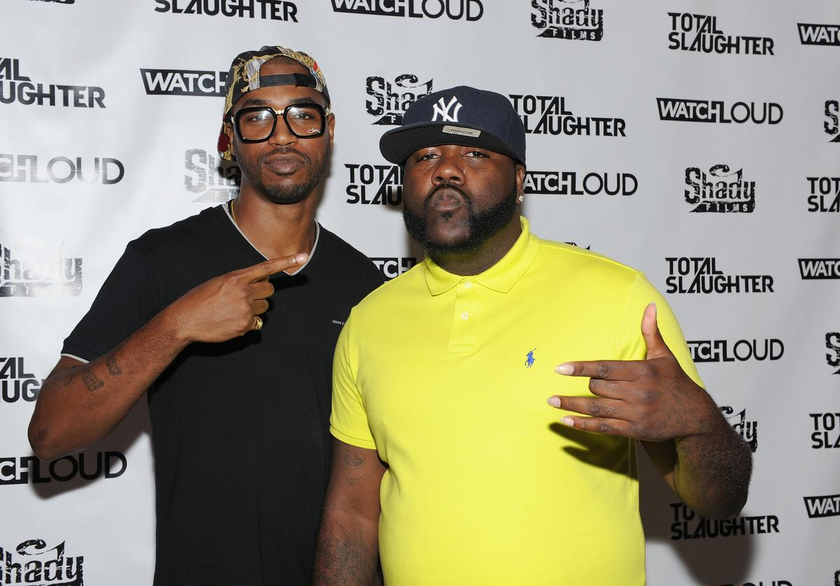Serius Jones and Mistah F.A.B. arrive at Total Slaughter, hosted by Shady Films and WatchLOUD.com at Hammerstein Ballroom on July 12, 2014 in New York City.