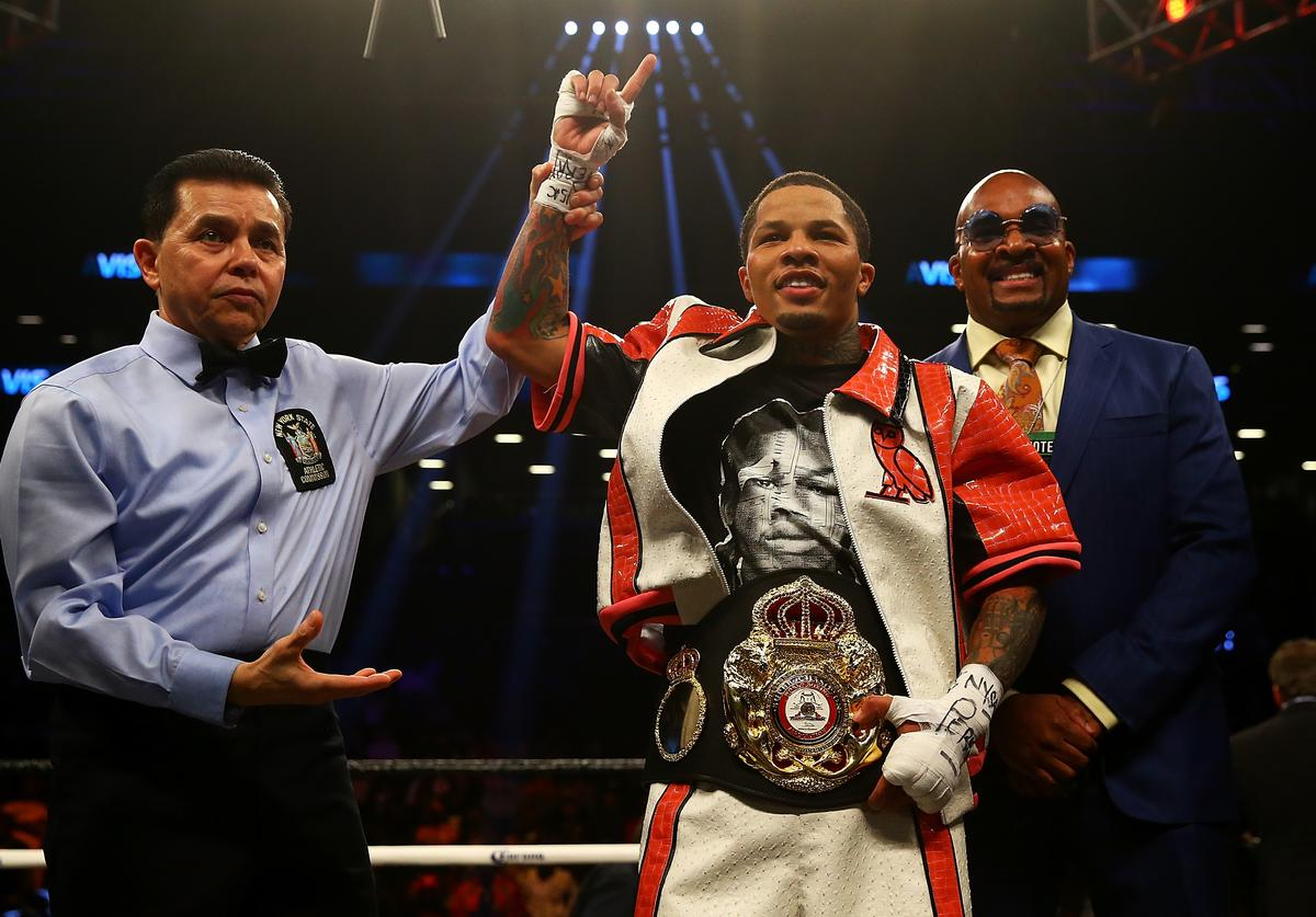 Gervonta Davis celebrates after he TKO's Jesus Cuellar in the third round to win the WBA Super Featherweight Championship bout at Barclays Center on April 21, 2018 in New York City.