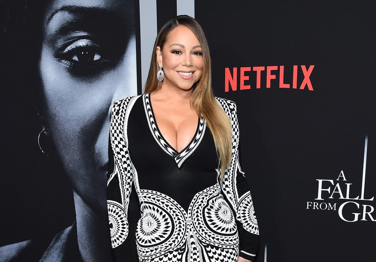 """Mariah Carey attends the premiere of Tyler Perry's """"A Fall From Grace"""" at Metrograph on January 13, 2020 in New York City."""