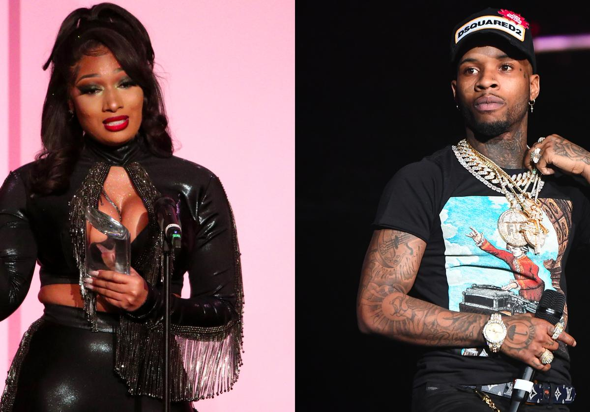 Megan Thee Stallion accepts the Powerhouse Award onstage during Billboard Women In Music, Tory Lanez performs onstage during 2018 V-103 Winterfest at State Farm Arena
