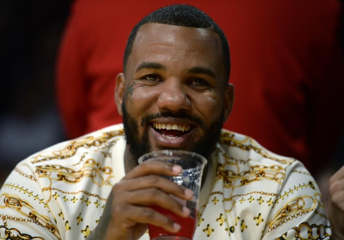Rapper The Game attends Portland Trail Blazers and Los Angeles Lakers pre-season basketball game
