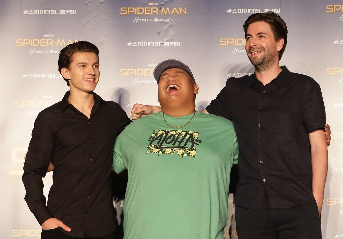 Director Jon Watts, Tom Holland and Jacob Batalon attend the 'Spider-Man: Homecoming' press conference at Conrad Seoul Hotel on July 3, 2017 in Seoul, South Korea.