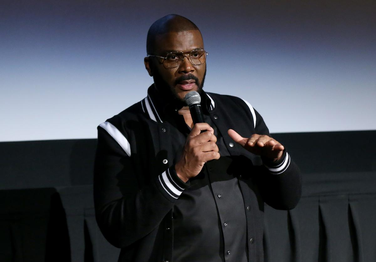 """Tyler Perry speaks during the Netflix Premiere for Tyler Perry's """"A Fall From Grace"""" at Metrograph on January 13, 2020 in New York City."""