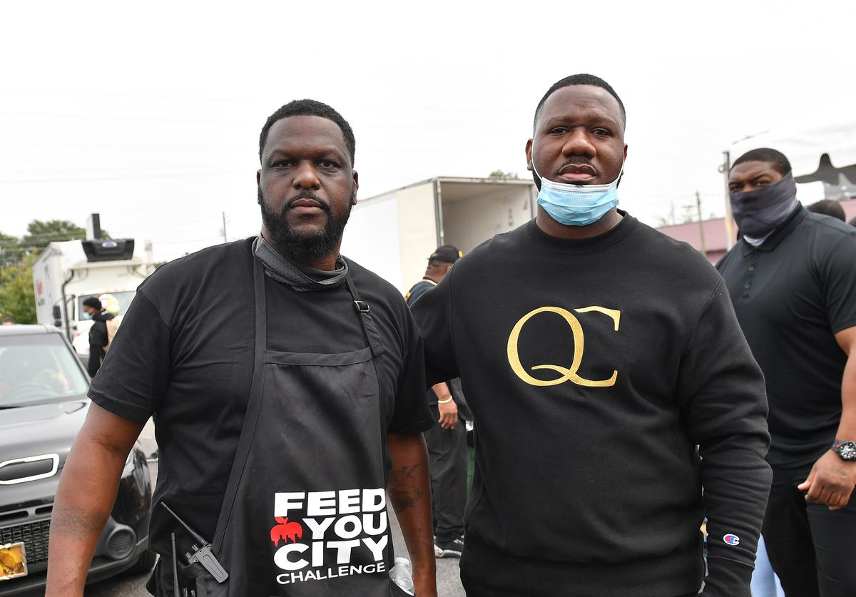 """Feed Your City Challenge Co-Founder Tony Draper and Quality Control Music CEO Pierre """"Pee"""" Thomas attend the Feed Your City Challenge on September 19, 2020 in Atlanta, Georgia. Feed Your City Challenge provided Atlanta's local community members with boxes of fresh groceries, PPE items, and voter registration stations."""