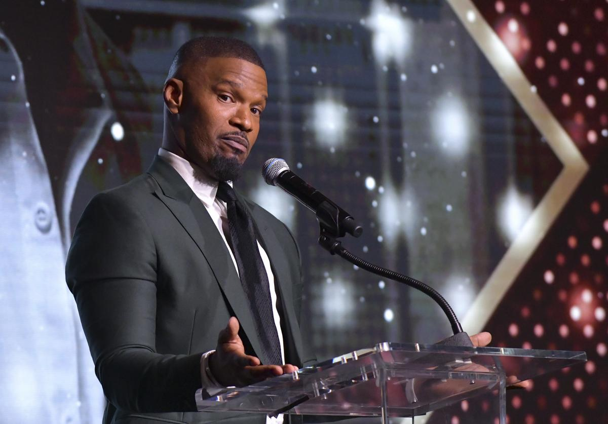 Jamie Foxx speaks at The African American Film Critics Association's 11th Annual AAFCA Awards at Taglyan Cultural Complex on January 22, 2020 in Hollywood, California.