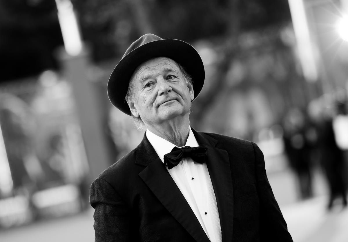 : This image has been converted in black and white) Bill Murray walks the red carpet during the 14th Rome Film Festival on October 19, 2019 in Rome, Italy.