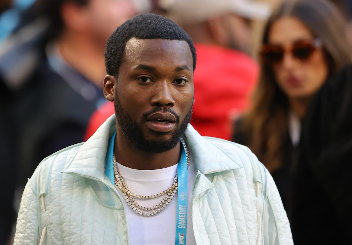 American rapper Meek Mill looks on before Super Bowl LIV at Hard Rock Stadium on February 02, 2020 in Miami, Florida.