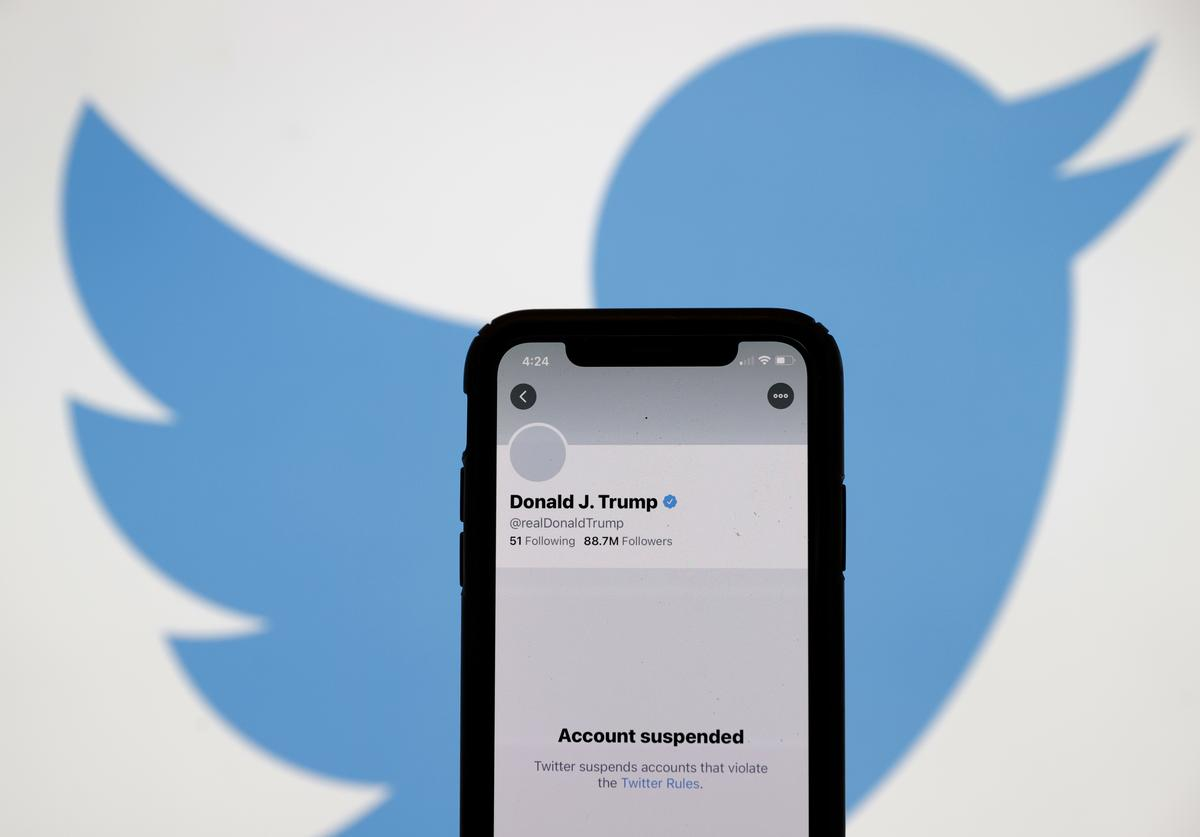 The suspended Twitter account of U.S. President Donald Trump appears on an iPhone screen on January 08, 2021 in San Anselmo, California. Citing the risk of further incitement of violence following an attempted insurrection on Wednesday, Twitter permanently suspended President Donald Trump's account.