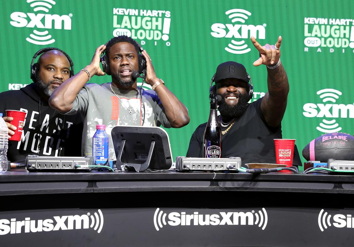 SiriusXM host Kevin Hart, rapper Rick Ross and The Plastic Cup Boyz speak onstage during day 3 of SiriusXM at Super Bowl LIV