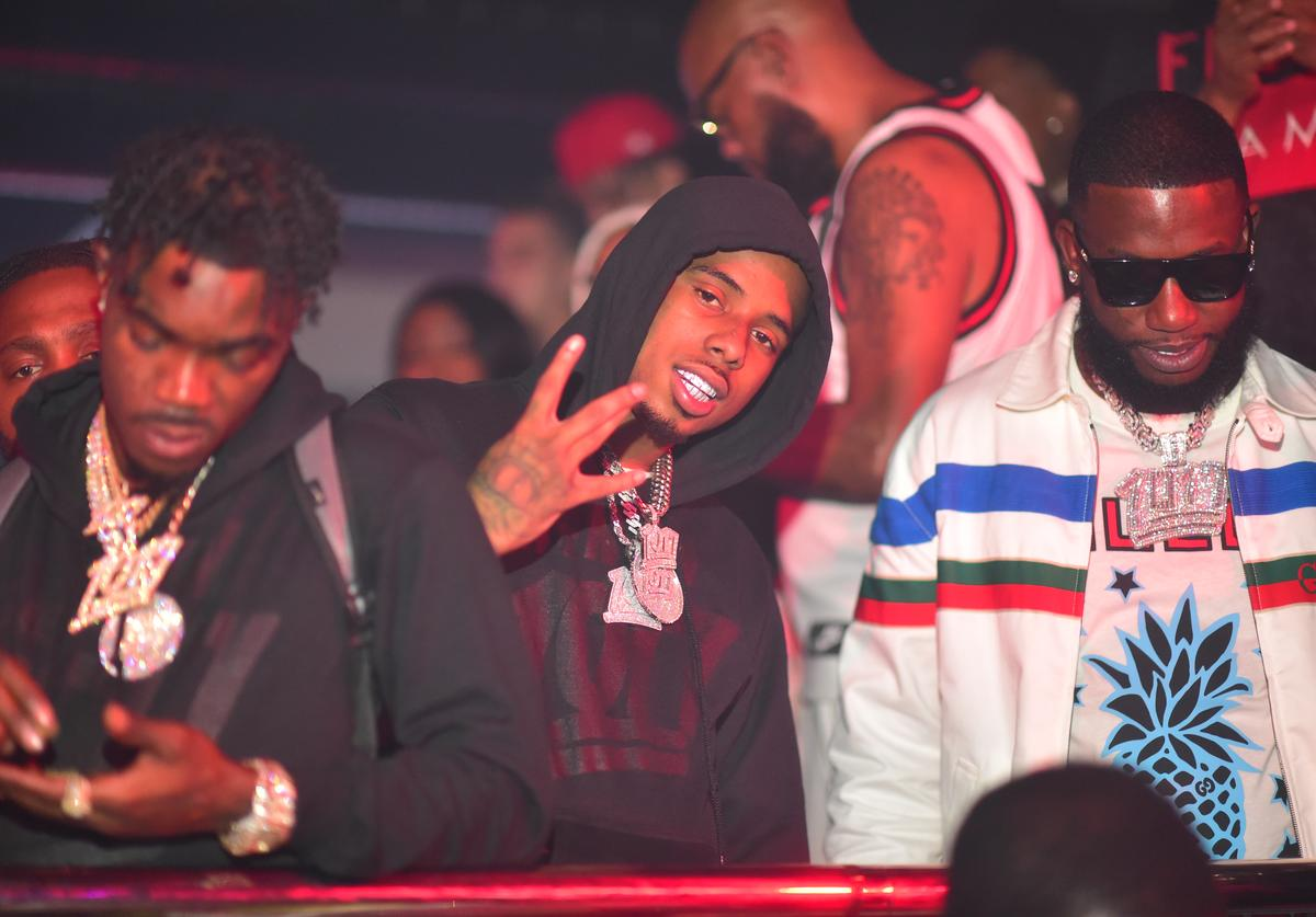 Foogiano, Pooh Shiesty and Gucci Mane attend a party hosted by Gucci Mane and 1017 at Republic Lounge