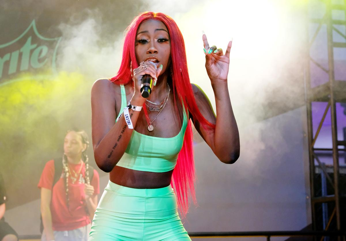 Flo Milli performs at the Kicksperience Stage Sponsored By Sprite during the BET Experience at Staples Center
