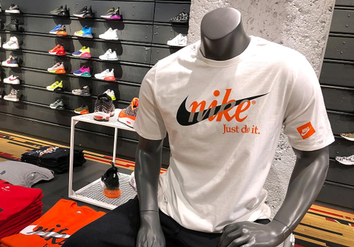 A Nike shirt is displayed at a Nike store on September 14, 2018 in San Francisco, California