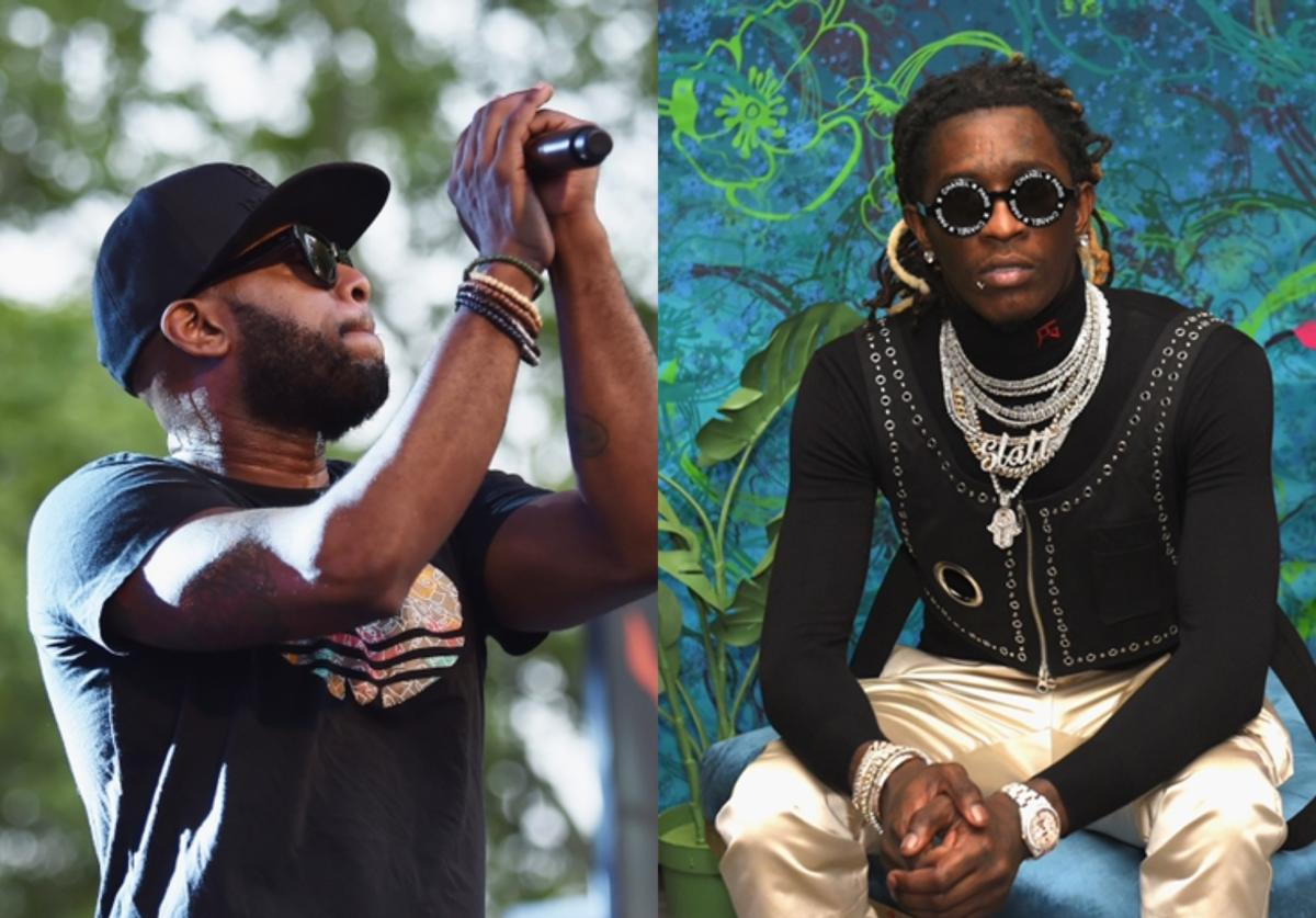 collage featuring Talib Kweli (left) & Young Thug (right)