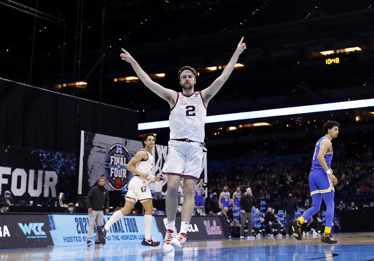 Drew Timme #2 of the Gonzaga Bulldogs celebrates in the second half against the UCLA Bruins during the 2021 NCAA Final Four semifinal