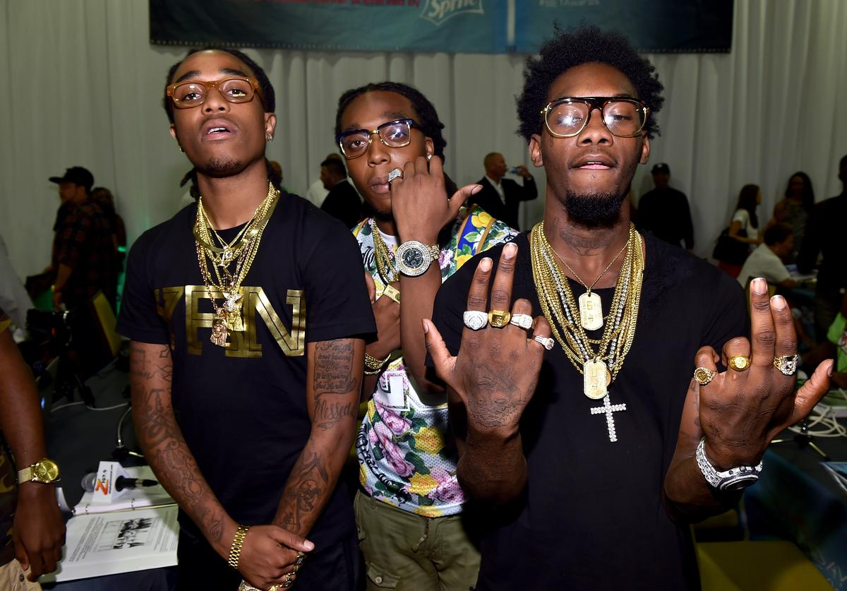 appers Quavo, Takeoff and Offset of Migos attend day 1 of the Radio Broadcast Center during the BET Awards '14 on June 27, 2014 in Los Angeles, California.