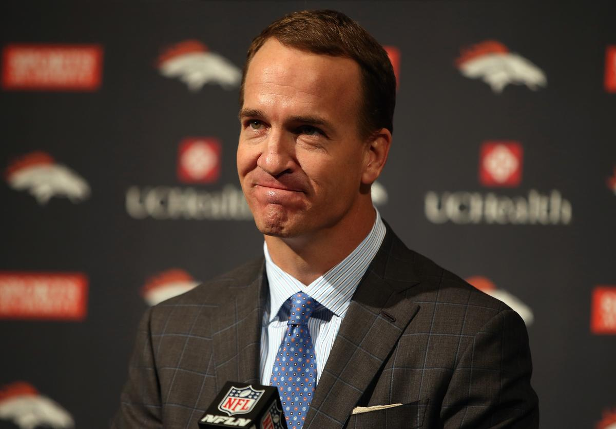 Peyton Manning at his retirement press conference.