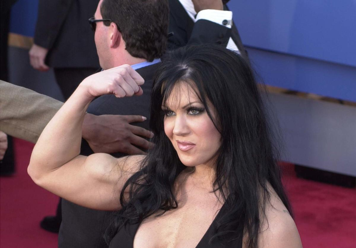 WWF wrestler Chyna flexes her muscles at the 43rd Annual Grammy Awards held at Staples Center February 21, 2001 in Los Angeles, CA.