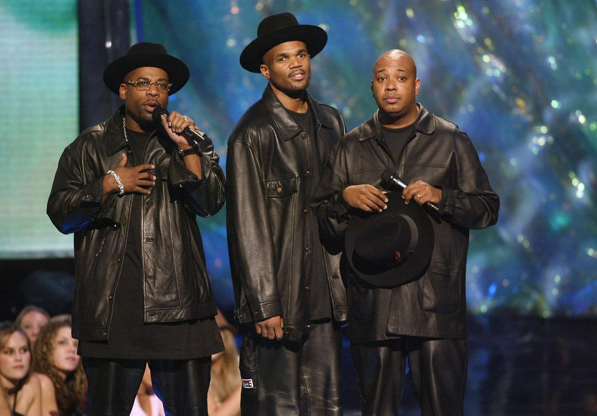 Run DMC and Jam Master Jay on stage at the 2002 MTV Video Music Awards at Radio City Music Hall in New York City, August 29, 2002.