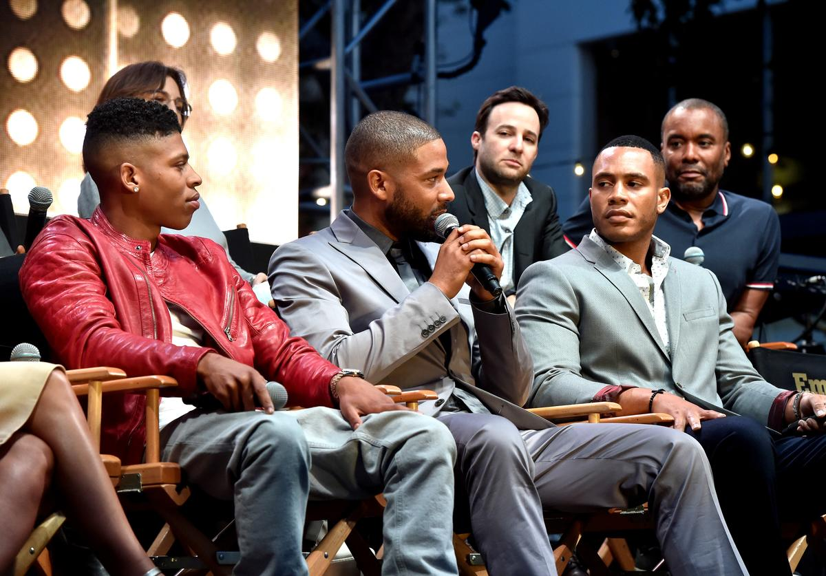 Actors Bryshere 'Yazz' Gray, Jussie Smollett and Trai Byers appear onstage at the Television Academy event for Fox Tv's 'Empire' - A Performance Under The Stars at The Grove on May 28, 2015 in Los Angeles, California.