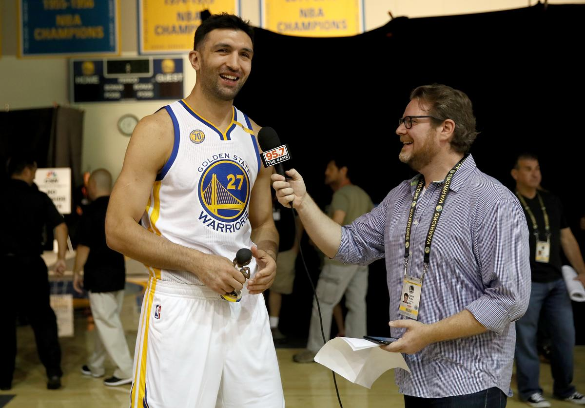 Zaza Pachulia #27 of the Golden State Warriors in interviewed during the Golden State Warriors Media Day at the Warriors Practice Facility on September 26, 2016 in Oakland, California.