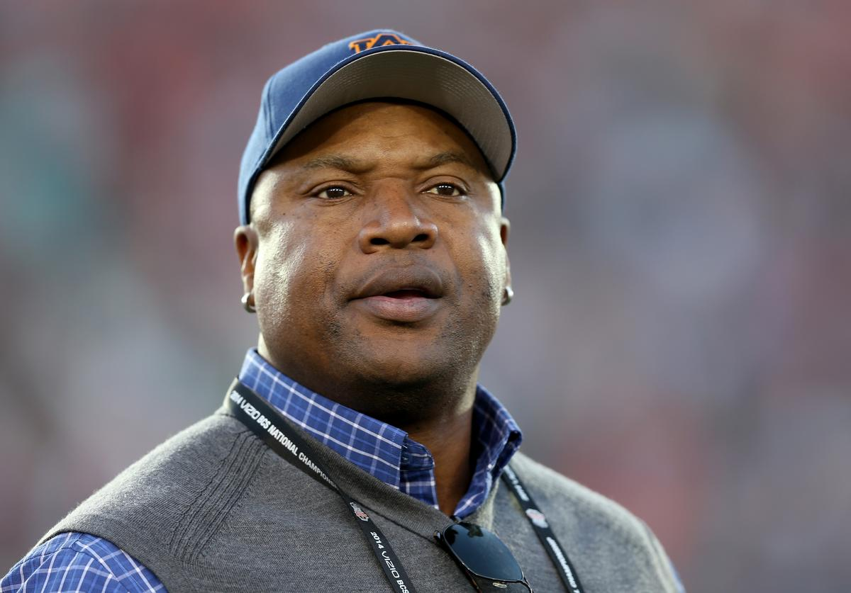 Former Auburn Tigers player Bo Jackson on the field before the 2014 Vizio BCS National Championship Game at the Rose Bowl on January 6, 2014 in Pasadena, California.