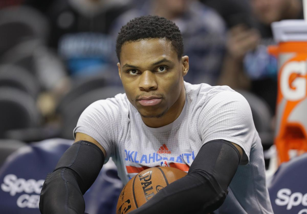Russell Westbrook #0 of the Oklahoma City Thunder during their game at Spectrum Center on January 4, 2017 in Charlotte, North Carolina.