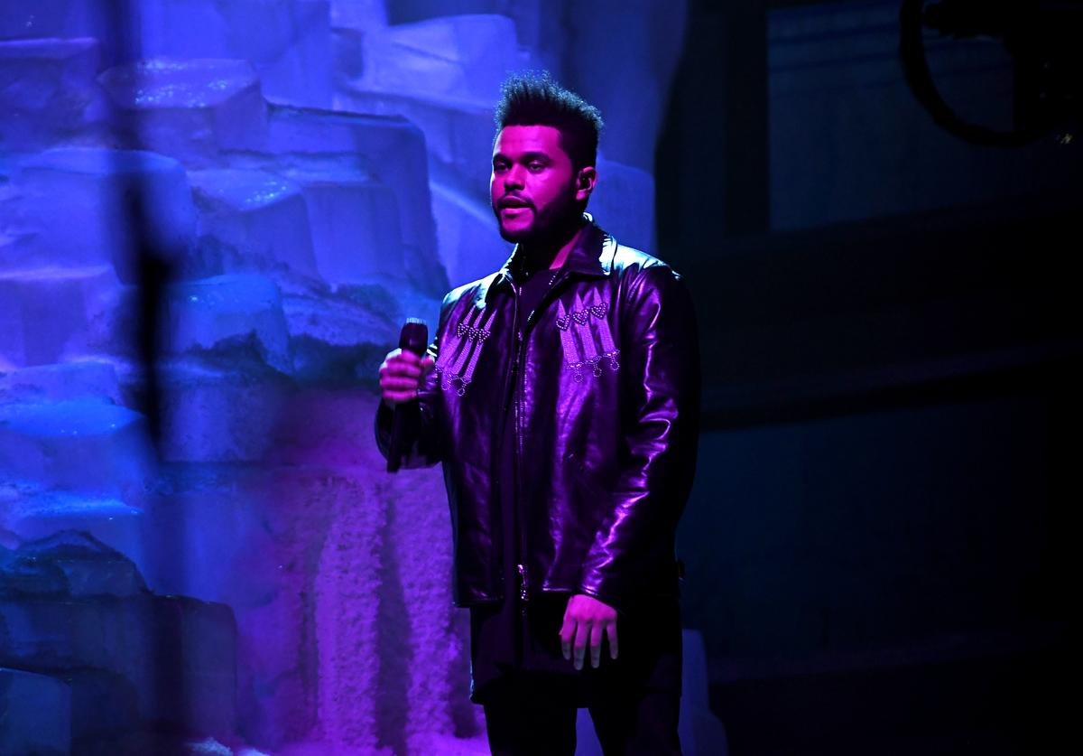 The Weeknd performing at Grammys