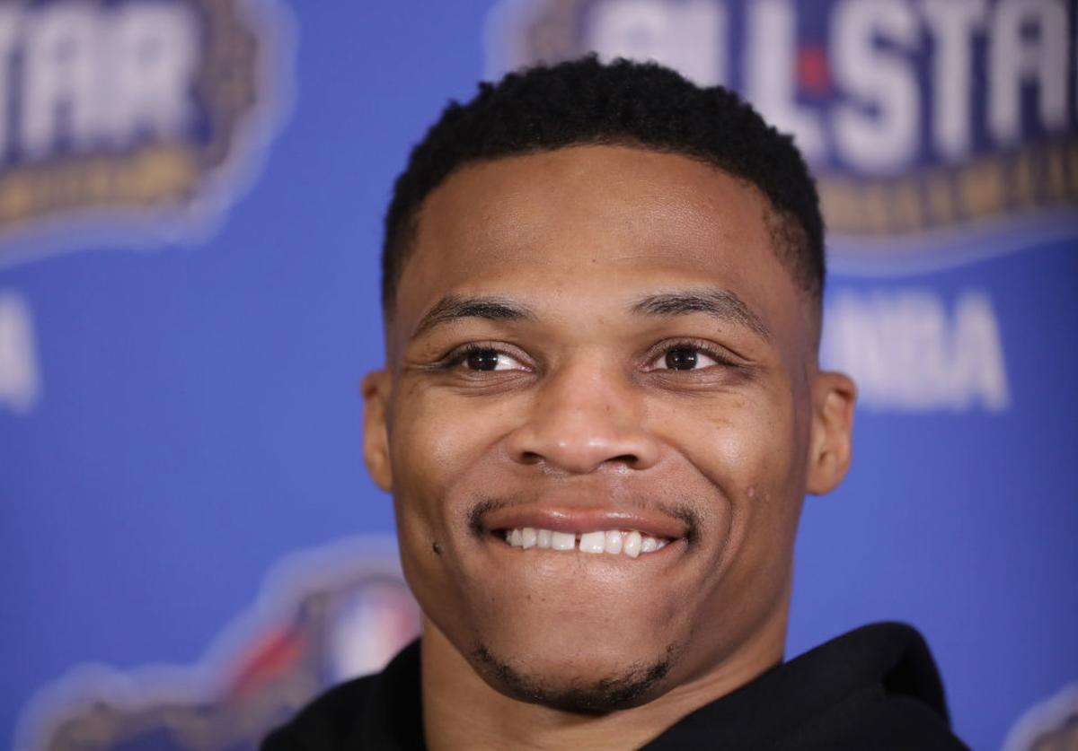 Russell Westbrook #0 of the Oklahoma City Thunder speaks with the media during media availability for the 2017 NBA All-Star Game at The Ritz-Carlton New Orleans on February 17, 2017 in New Orleans, Louisiana.
