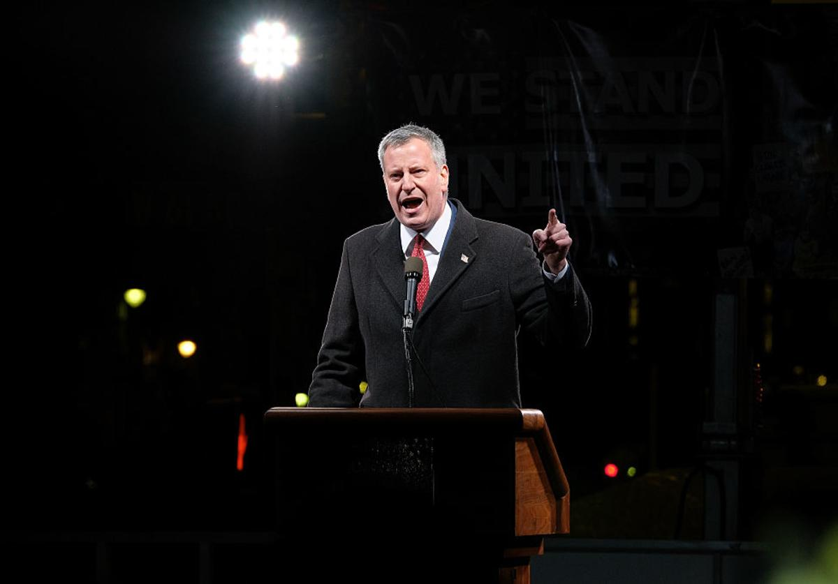 ew York City mayor Bill de Blasio speaks onstage during the We Stand United NYC Rally outside Trump International Hotel & Tower on January 19, 2017 in New York City.