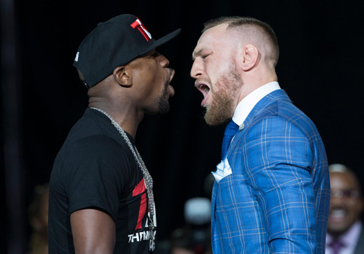 Mayweather and McGregor jaw during second presser
